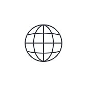 earth, globe thin line icon. Linear vector illustration. Pictogram isolated on white background