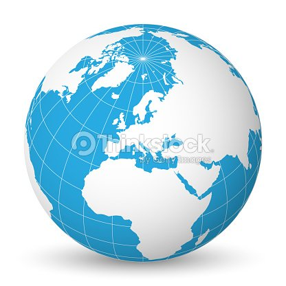globe terrestre avec monde blanc carte et bleu des mers et. Black Bedroom Furniture Sets. Home Design Ideas