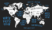Earth map with the name of the countries poster