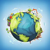 Illustration of a cartoon design earth planet globe with architecture and environment elements, house, city, mountains, volcano, windmills, lighthouse, desert island and ocean