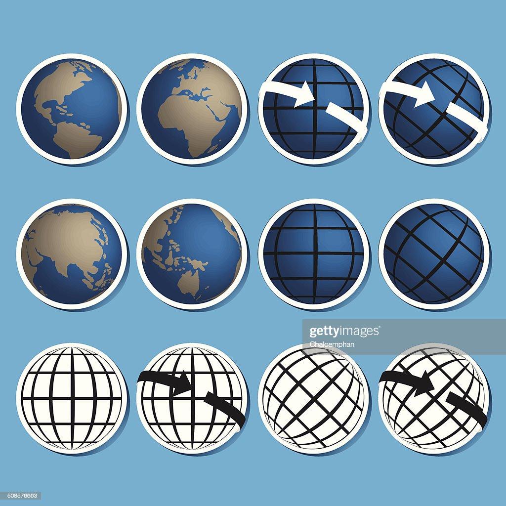 Earth vector icon set.Credit by NASA : Vector Art