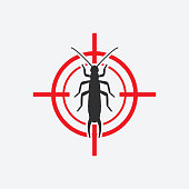 Earwig icon red target. Insect pest control sign. Vector illustration