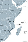 East Africa region, political map. Area with borders. Easterly region of the African continent, also called Eastern Africa. Gray illustration on white background. Vector.