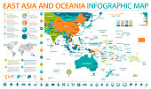 East Asia and Oceania Map - Detailed Info Graphic Vector Illustration