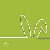 Easter background with silhouette line rabbit for your design