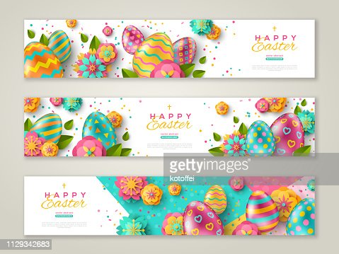 Easter banners with ornate eggs : stock vector