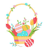 Easter basket with eggs, flowers, and verba, vector illustration. Happy Easter!