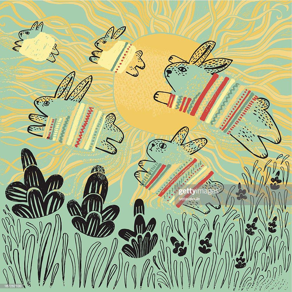 Easter bunnies : Vector Art