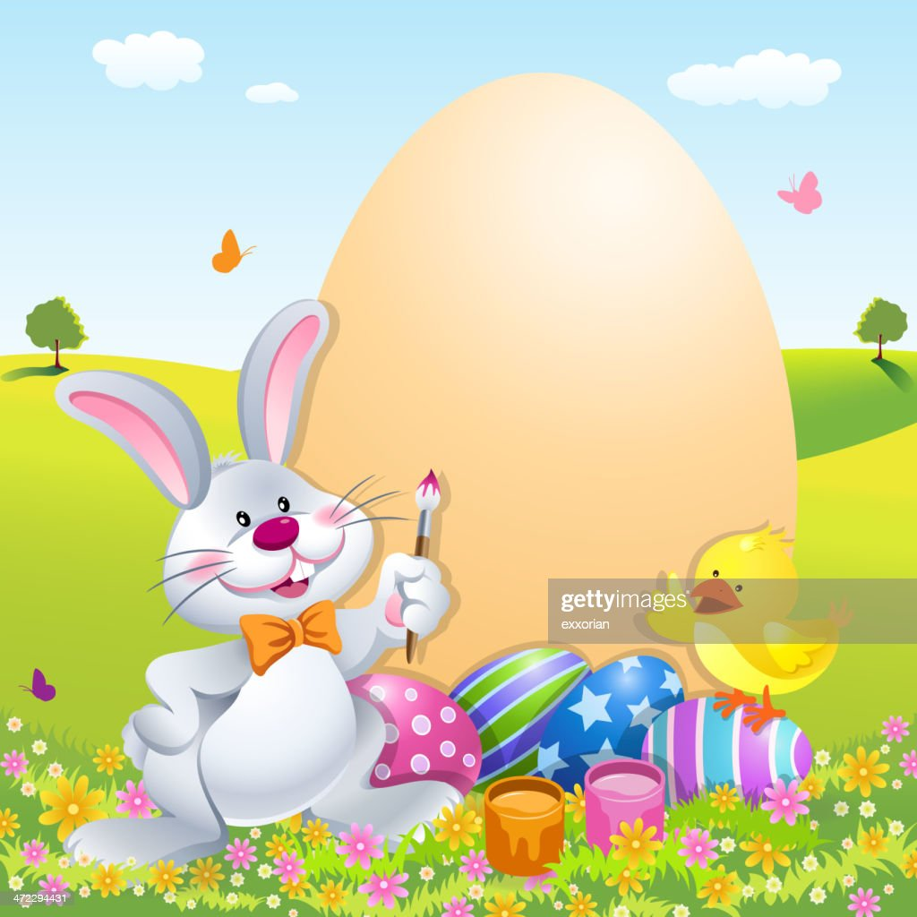 cartoon easter bunny vector art getty images