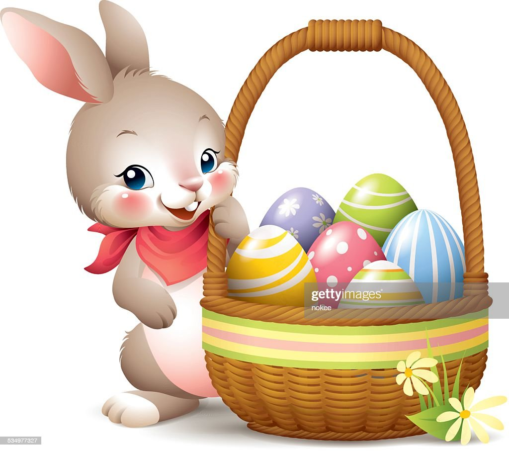 easter bunny holding sign vector art getty images