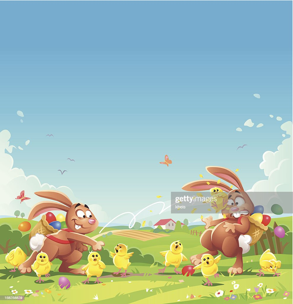 Easter Bunny Chick Fight : Vector Art