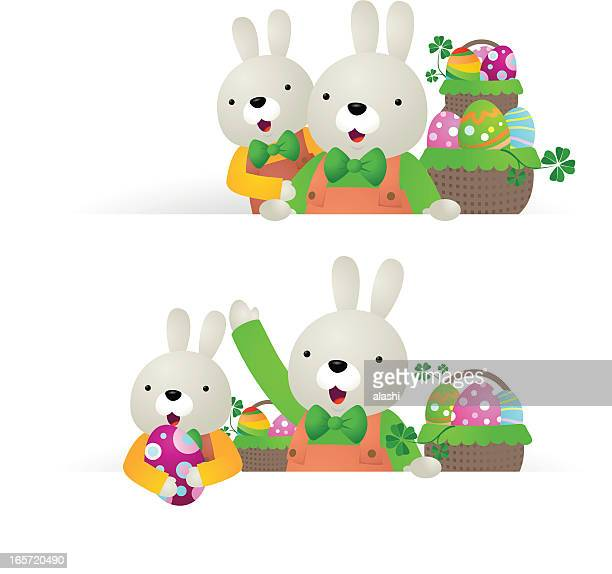 Easter bunny family with blank sign, basket of eggs