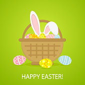 Colorful Easter eggs and rabbit in basket on green background, illustration.