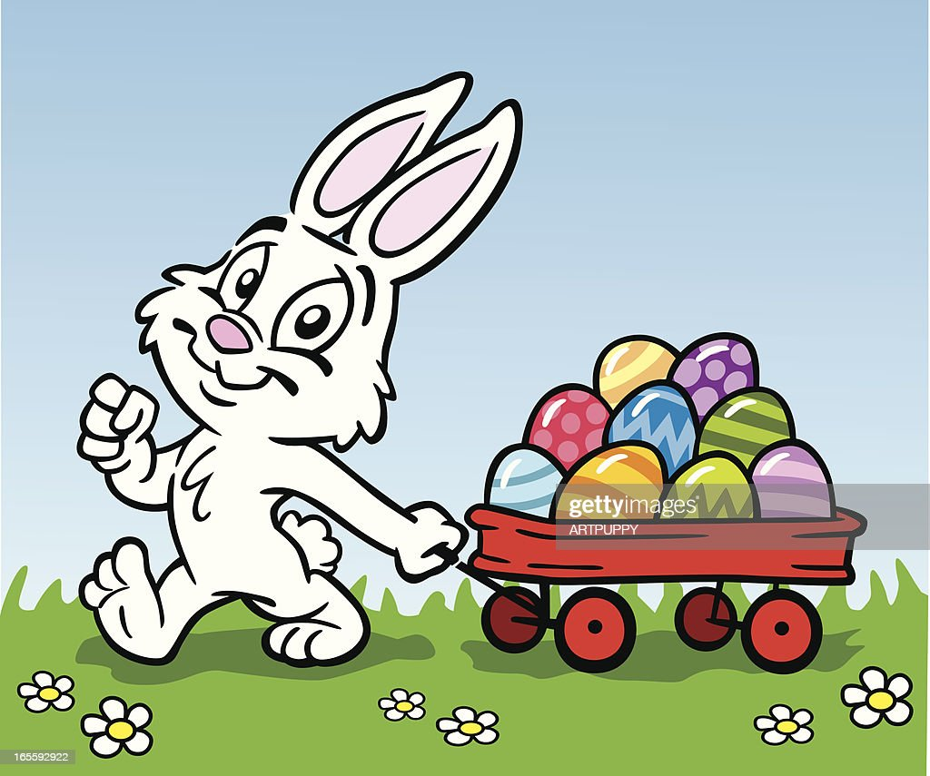 easter bunny with wagon of eggs vector art getty images