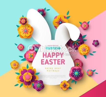 Easter Card With Bunny Rabbit Frame Vector Art | Thinkstock