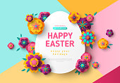 Easter card with paper cut egg shape frame, spring flowers on colorful modern geometric background. Vector illustration. Place for your text.