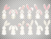 Cute ostern rabbit vector illustration. Easter cartoon bunny isolated on transparent background