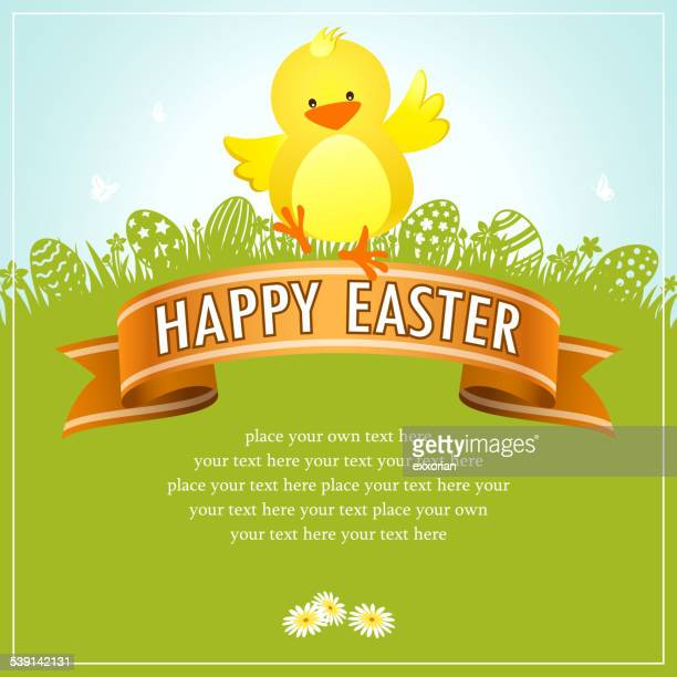 Easter Chick Banner in Nature Background