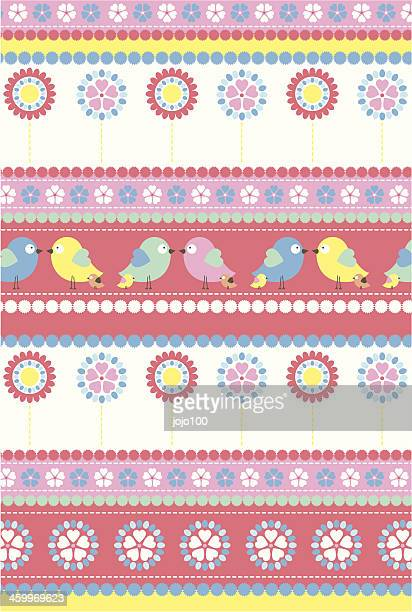 Easter Chick & Daisy Stripe Pattern in Repeat