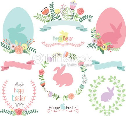 Easter Clip Arteaster Eggbannerfloralwreathbunny Collections