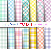 Set of Fourteen Easter Colors Tartan and Gingham Plaid Vector Patterns. Pastel  Shades.  Pattern Tile Swatches Included.