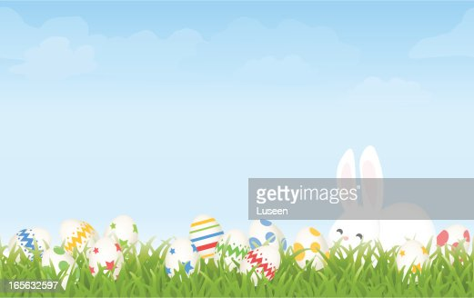 Easter Egg Hunt Morning With Cartoon Bunny And Eggs