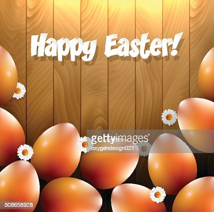 Easter eggs and small flowers on a wooden background : Vector Art