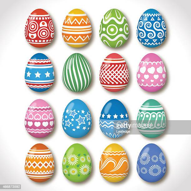 Easter eggs declared with different patterns