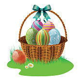 Easter basket with blue ribbon and colorful Easter eggs in green grass. Vector