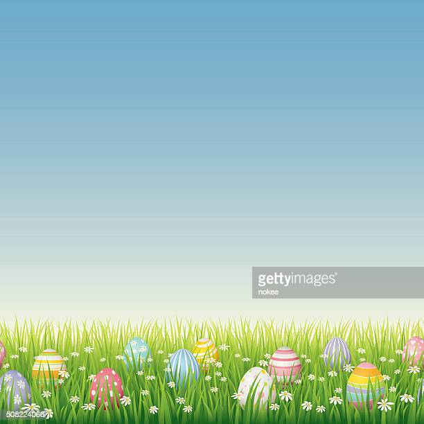 Easter eggs on green grass - seamless