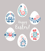 Easter eggs with floral decoration, vector illustration