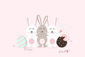 Easter, happy greeting card holiday, confetti decoration celebrate party poster, adorable rabbit with egg fancy, cute bunny cartoon invitation vector illustration