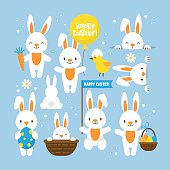 Easter holiday concept with cute bunny set for graphic and web design