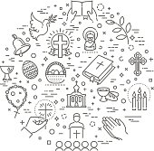 Set of the Easter related outline icons