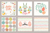 Cute Happy Easter templates with eggs, flowers, rabbit, seamless pattern and typographic design. Vector illustration.