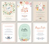 Cute Happy Easter templates with eggs, flowers,floral wreath,rabbit and typographic design. Good for spring and Easter greeting cards and invitations. Vector illustration.