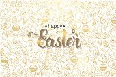 Easter poster with hand made trendy lettering 'Happy Easter' and golden paschal symbols in sketch style. Banner, flyer, brochure. Background for holidays, postcards, websites