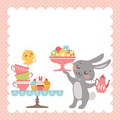 Easter tea party background with cute Easter rabbit.