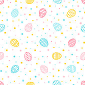 Easter seamless pattern. Colorful background with ornate eggs and dots. Endless texture for wallpaper, web page, wrapping paper and etc. Retro style.