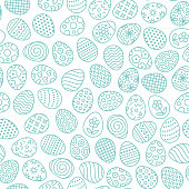 Easter seamless pattern with flat line icons of painted eggs. Egg hunt vector illustrations, christianity traditional celebration wallpaper. Blue, white color.