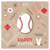 Happy Easter. Greeting card with Easter egg as a baseball ball. Abstract Memphis design. Vector illustration.