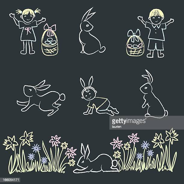 Easter themed chalk doodle elements.