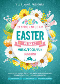 Advertising poster template for Easter Weekend Party with cheerful bunny, colored eggs and spring flowers on turquoise background with doodle pattern. Vector Illustration.