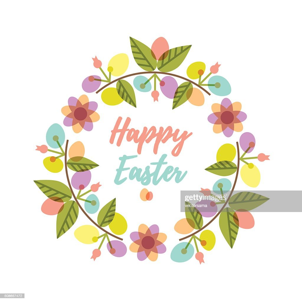 Easter wreath with colorful pattern eggs and flower branches. : Vector Art