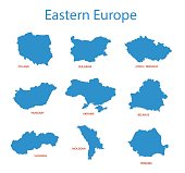 eastern europe - vector maps of territories
