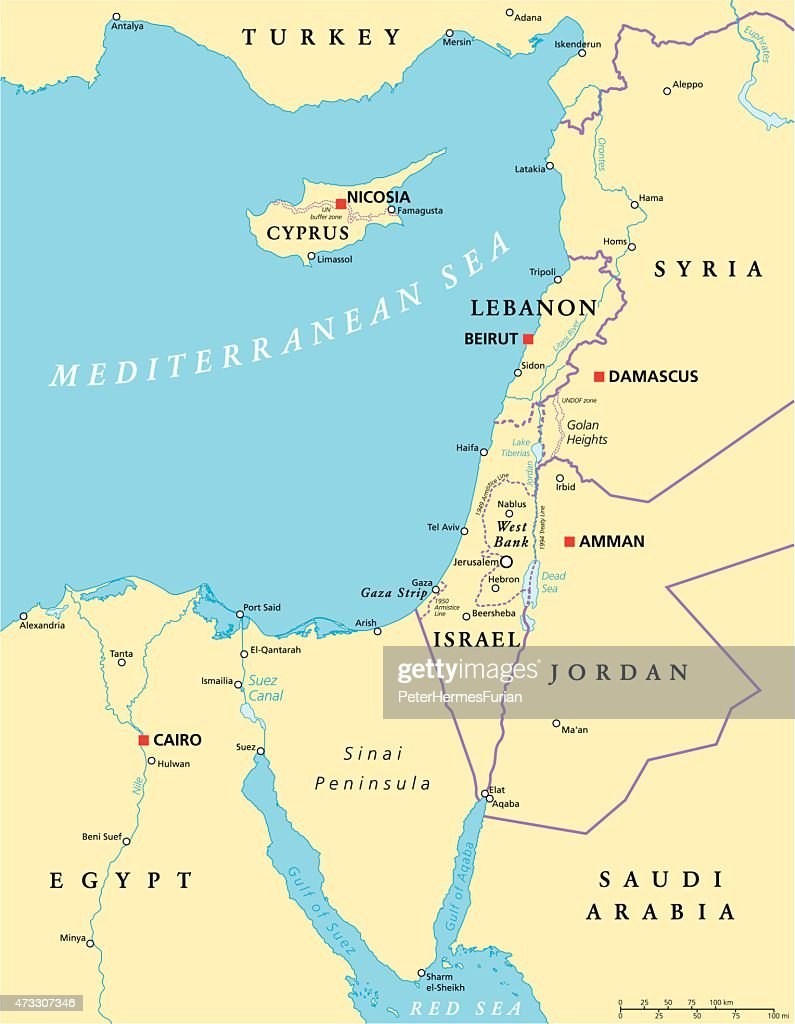 Eastern Mediterranean Political Map Vector Art Thinkstock