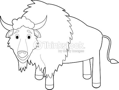 Easy Coloring Animals For Kids Buffalo stock vector