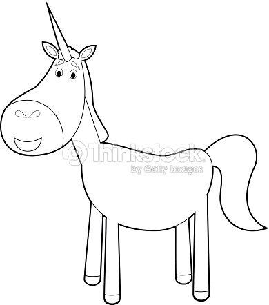 Coloriage Facile Licorne.Coloriage Animaux Facile Pour Les Enfants Licorne Clipart Vectoriel