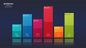 Easy editable vector 6 options infographic design, bar chart, presentation template. Global swatches.
