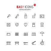 Vector thin line flat design icons set for security and protect theme